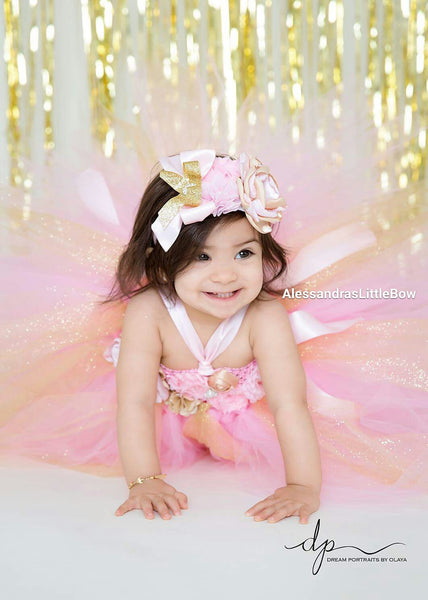 pink and gold tutu dress - AlessandrasLittleBow - tutu dress - Alessandras Little Bow -  -  -  - 1