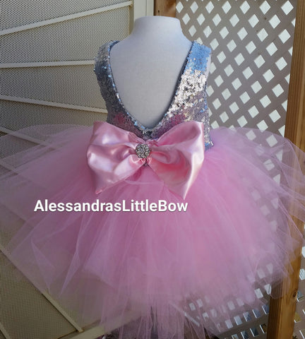 pink and silver tier sequin dress - AlessandrasLittleBow - Sequin dress - Alessandras Little Bow -  -  -  - 1