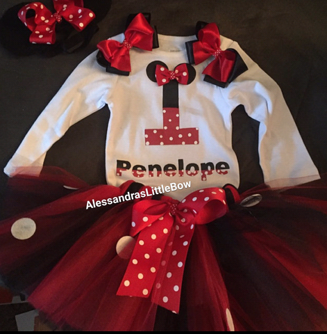 3 piece red and black minnie mouse birthday outfit - AlessandrasLittleBow - birthday outfit - Alessandras Little Bow -  -  -  - 1