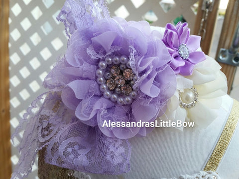 light purple and ivory lace headband - AlessandrasLittleBow - Headband - children's boutique  -  -  -