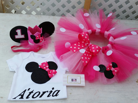 minnie mouse pink birthday outfit - AlessandrasLittleBow - Minnie mouse birthday outfit - children's boutique  -  -  -