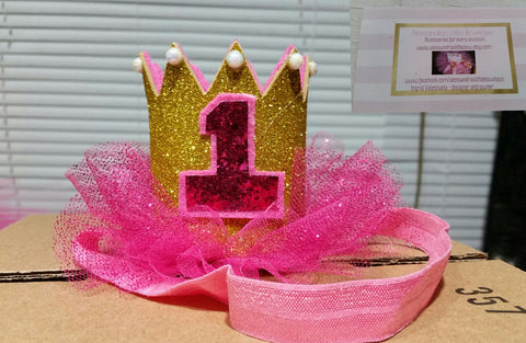 pink and gold first birthday crown - AlessandrasLittleBow