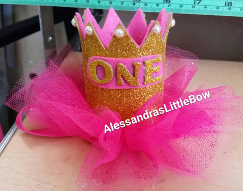 one - pink and gold first birthday crown - AlessandrasLittleBow