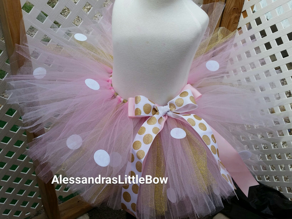 Light pink and gold Minnie mouse tutu skirt - AlessandrasLittleBow