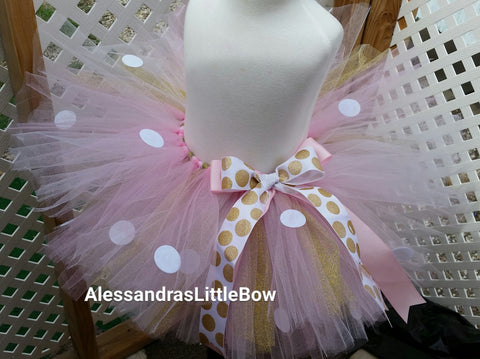 Light pink and gold Minnie tutu skirt