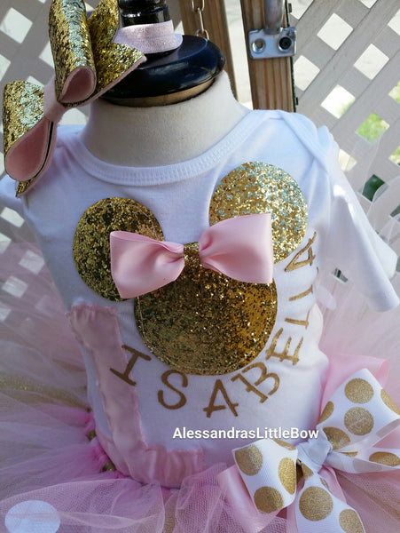 Pink and gold Deluxe Minnie Mouse Birthday Outfit - AlessandrasLittleBow
