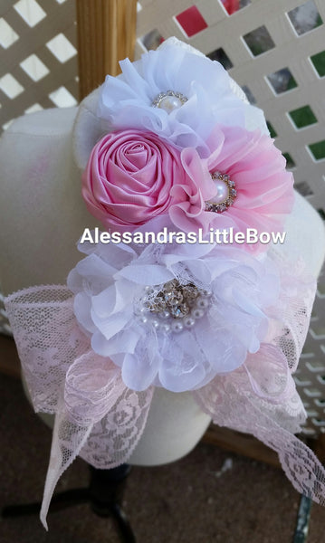light pink and white lace headband - AlessandrasLittleBow