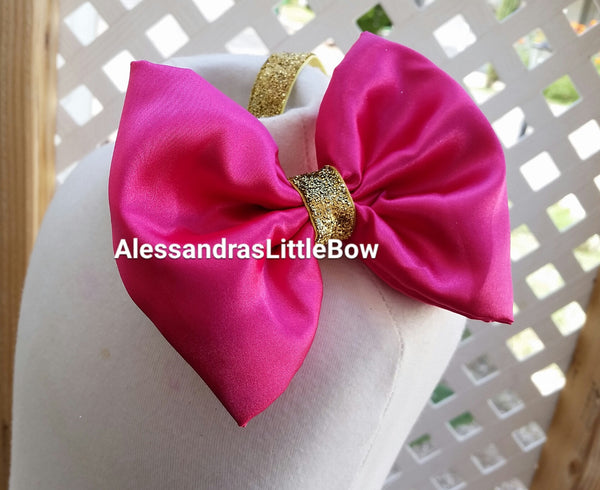 Satin bow headband - AlessandrasLittleBow