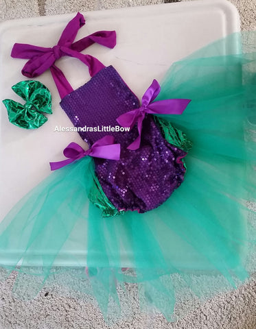 mermaid romper - AlessandrasLittleBow - romper - children's boutique  -  -  -  - 1
