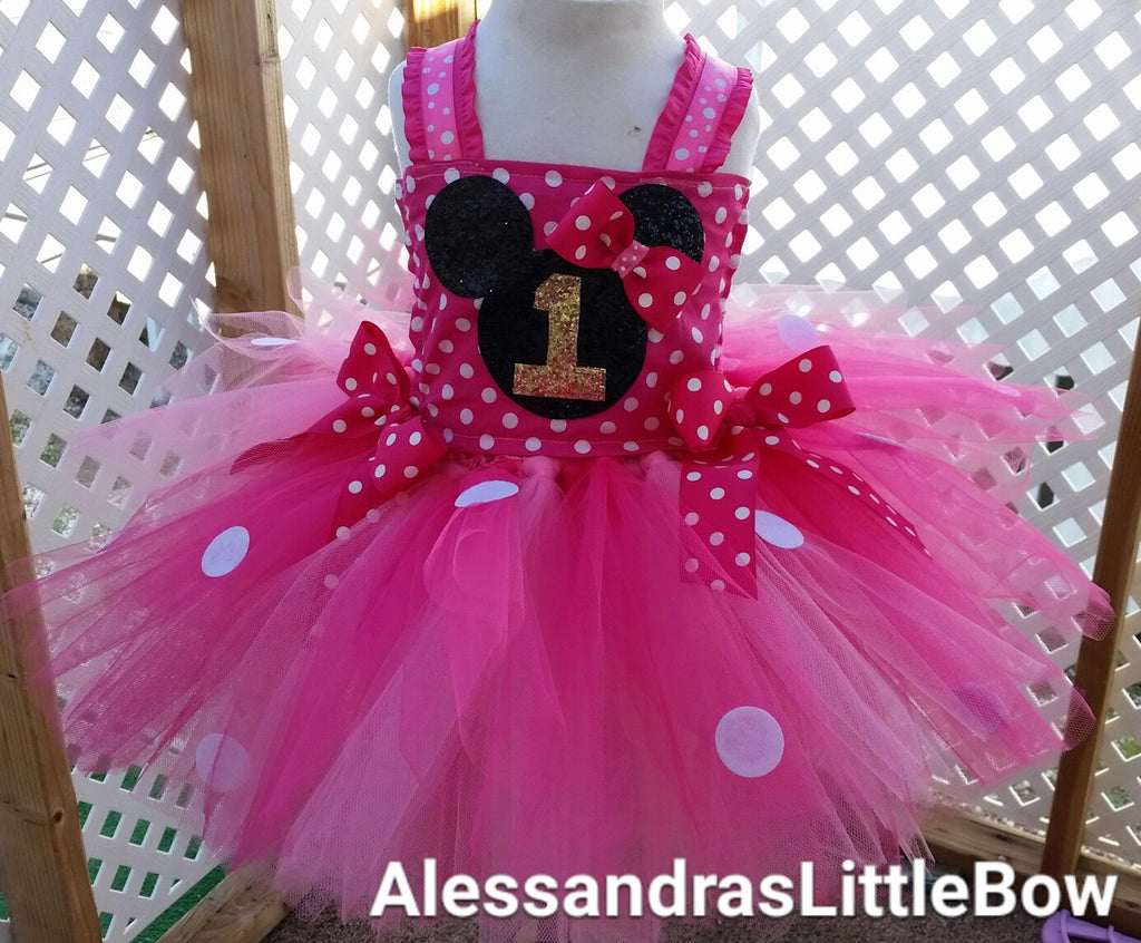Pink deluxe Minnie mouse tutu dress - AlessandrasLittleBow