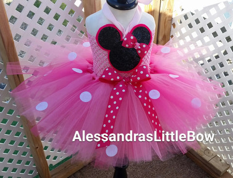 pink Minnie mouse tutu dress - AlessandrasLittleBow - tutu dress - children's boutique  -  -  -  - 1