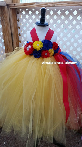 Snow White Princess flower girl tutu dress - AlessandrasLittleBow - tutu dress - children's boutique  -  -  -  - 1