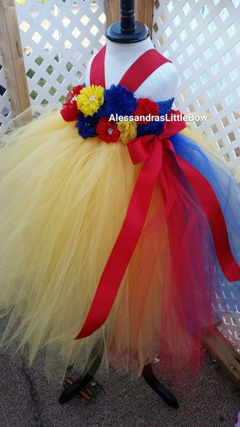 Snow White Princess flower girl tutu dress - AlessandrasLittleBow - tutu dress - children's boutique  -  -  -  - 3