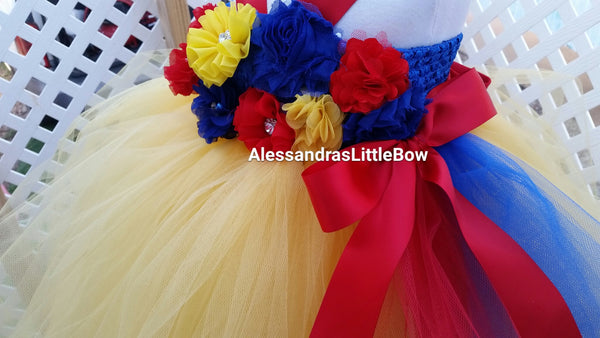 Snow White Princess flower girl tutu dress - AlessandrasLittleBow - tutu dress - children's boutique  -  -  -  - 2
