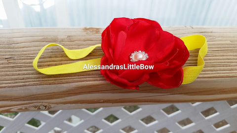Red rose headband - AlessandrasLittleBow
