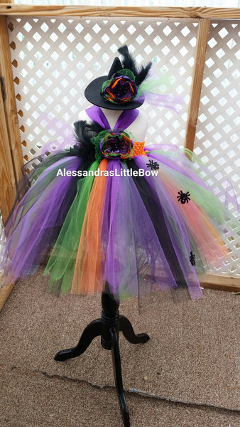 Pretty witch tutu dress and hat - AlessandrasLittleBow