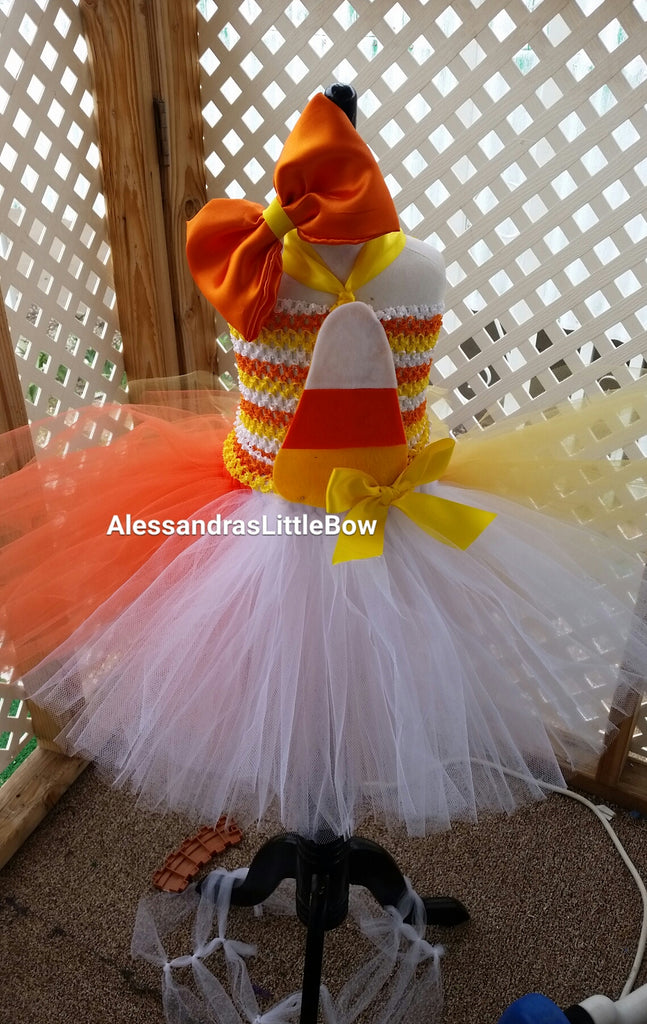 Candy corn tutu dress - AlessandrasLittleBow