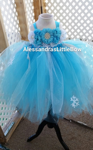 Winter wonderland flower girl tutu dress - AlessandrasLittleBow