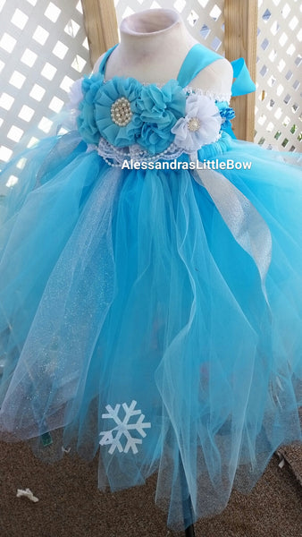 Winter wonderland flower girl tutu dress