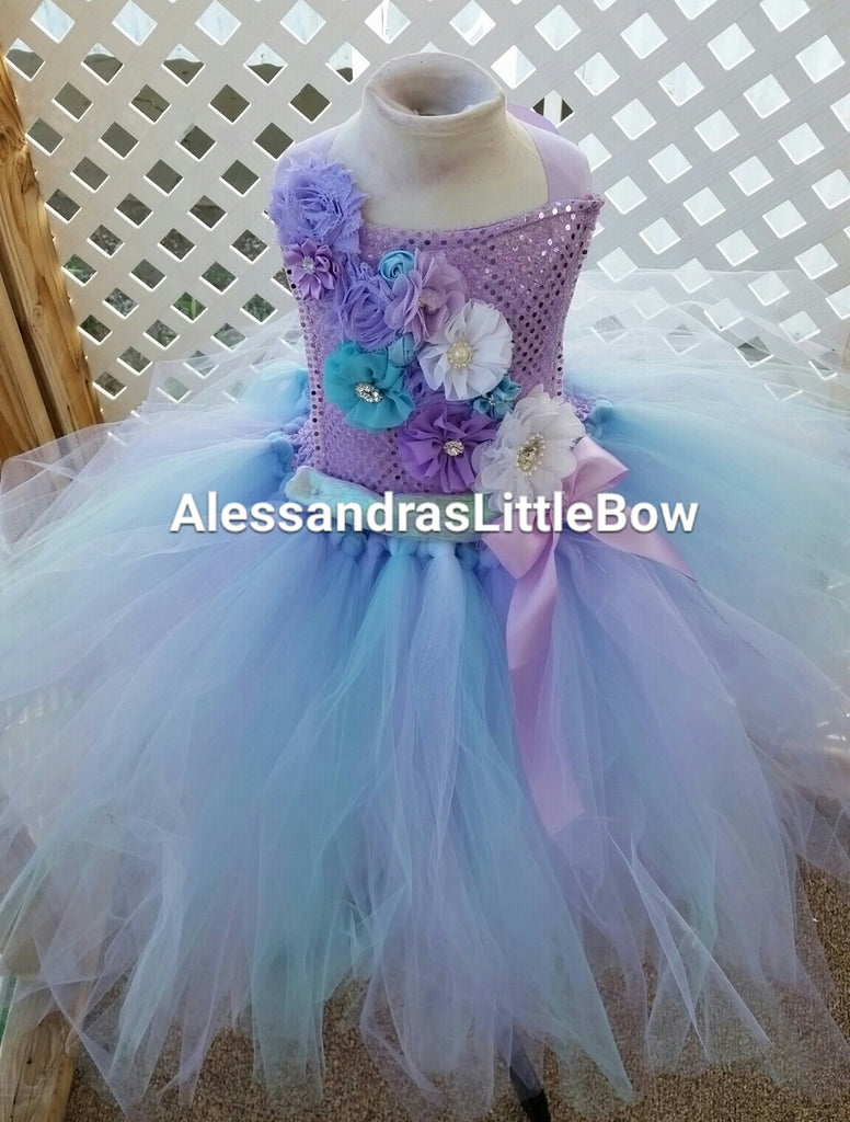 Crystal Winter flower girl tutu dress - AlessandrasLittleBow