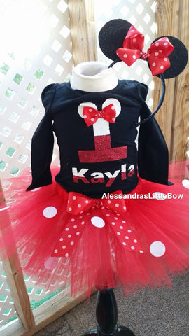 Minnie mouse birthday outfit with black top - AlessandrasLittleBow