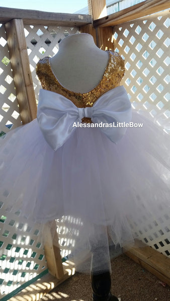 The Princess dress in white and gold - AlessandrasLittleBow