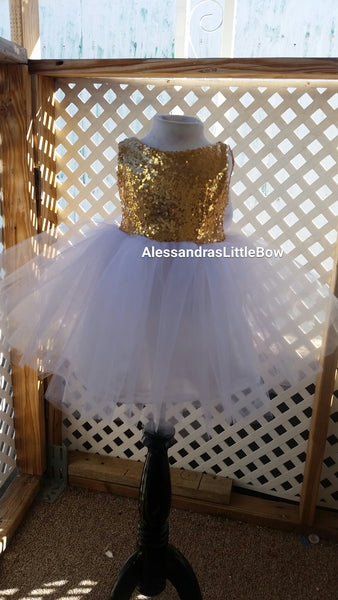 The Princess dress in white and gold