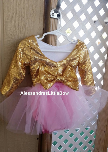 The Princess Romper in pink and gold