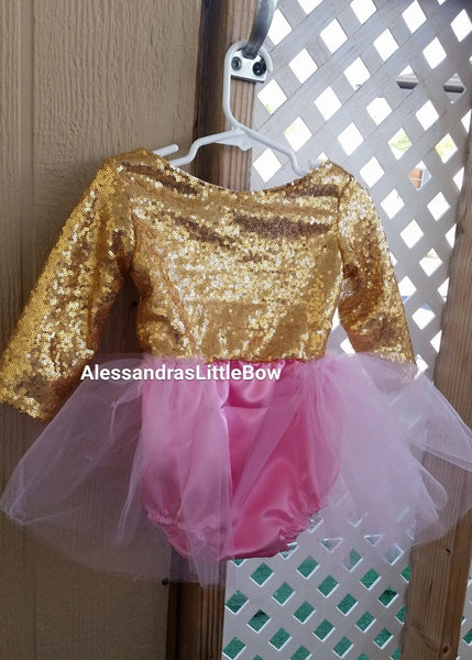 The Princess Romper in pink and gold - AlessandrasLittleBow