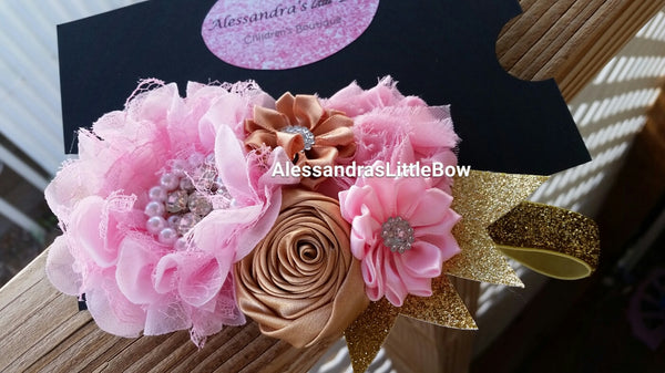 Light pink and Gold headband - AlessandrasLittleBow