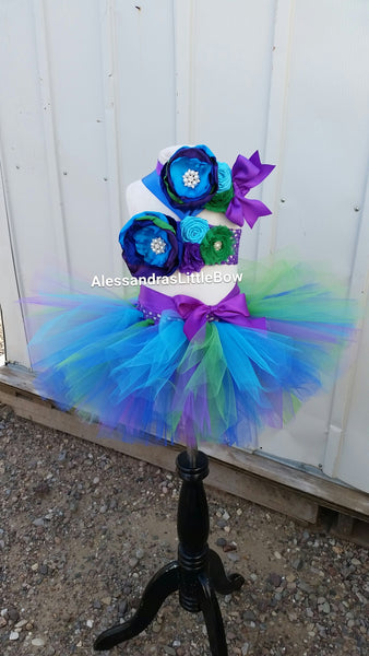 Peacock inspired cake smash outfit - AlessandrasLittleBow