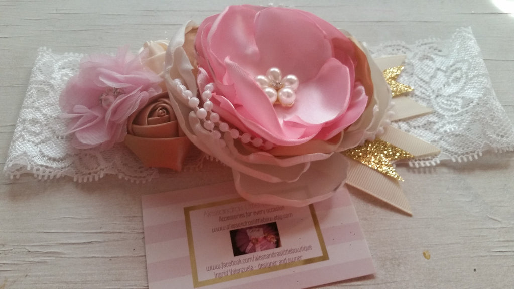 Pink , ivory and gold headband - AlessandrasLittleBow