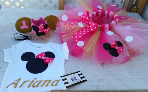 Pink and gold Minnie mouse birthday outfit 3 piece - AlessandrasLittleBow