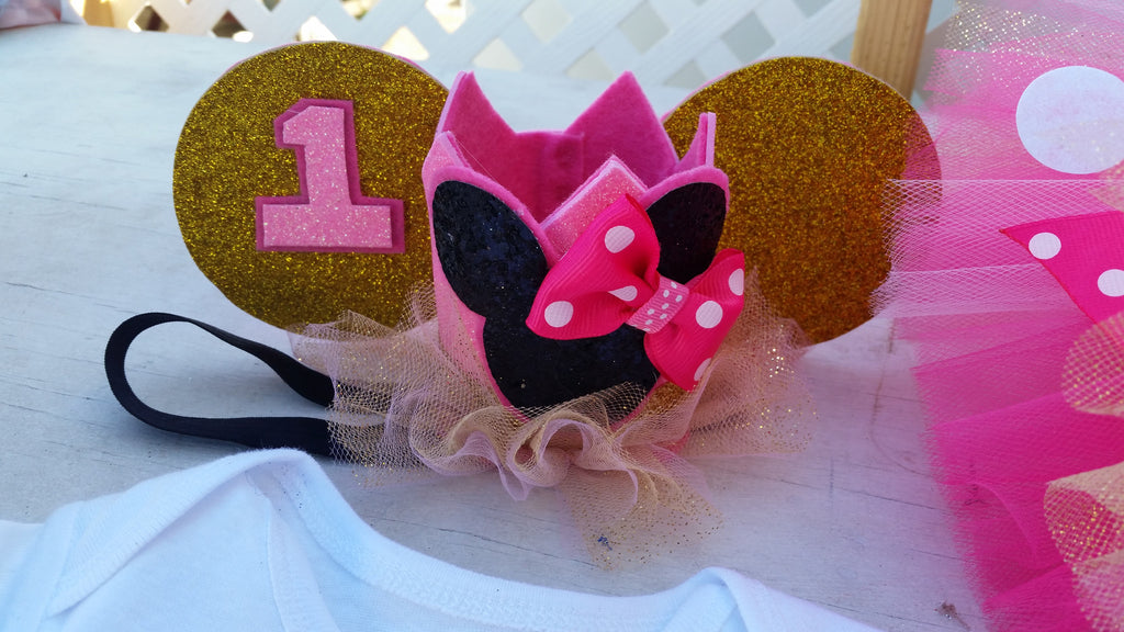 pink and gold minnie mouse birthday crown - AlessandrasLittleBow