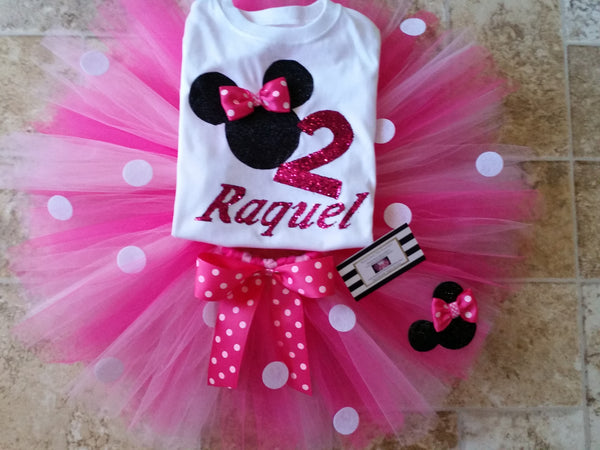 pink minnie mouse birthday outfit 3 piece set - AlessandrasLittleBow - Minnie mouse birthday outfit - children's boutique  -  -  -