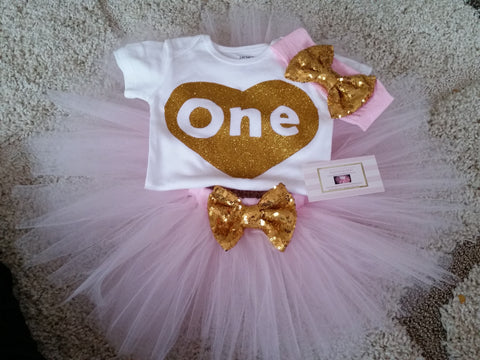 Pink and gold heart birthday outfit - AlessandrasLittleBow