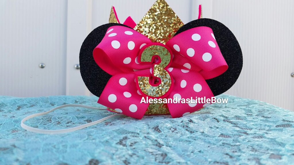 Gold Minnie Ears birthday crown - AlessandrasLittleBow