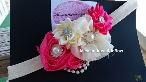 Hot pink and ivory headband - AlessandrasLittleBow