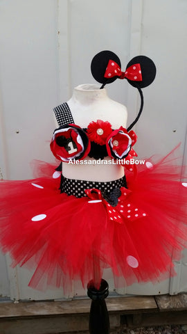 Let's Party Minnie mouse Red cake smash outfit - AlessandrasLittleBow