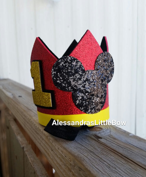 Mickey Mouse red birthday crown - AlessandrasLittleBow