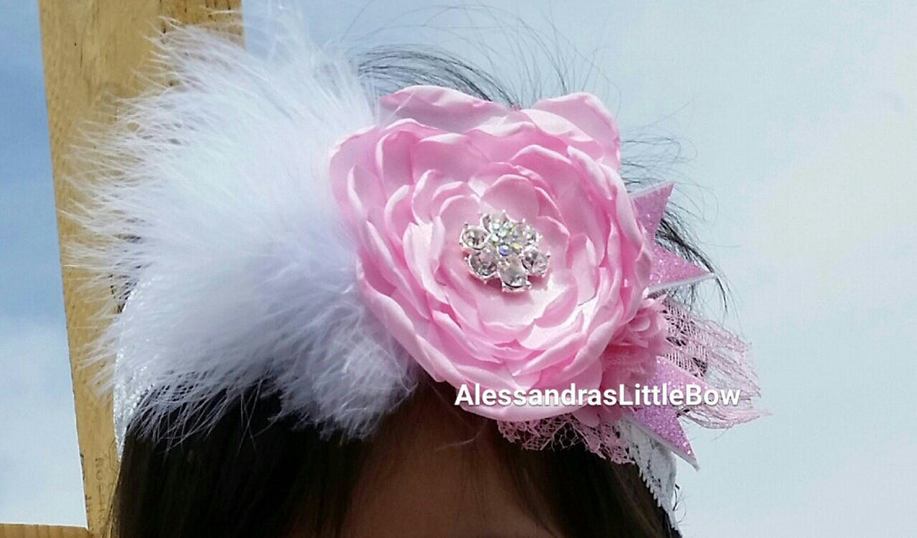 Pretty in Pink headband - AlessandrasLittleBow