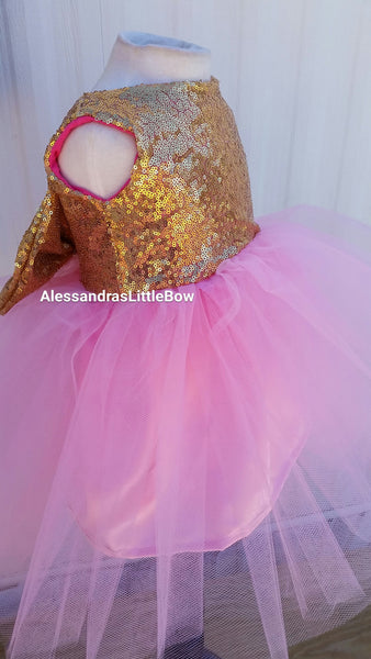 The Princess dress in pink and gold knee lenght