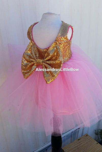 The Princess dress in pink and gold knee lenght - AlessandrasLittleBow