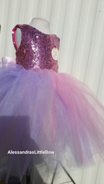 Princess Unicorn color block couture dress - AlessandrasLittleBow