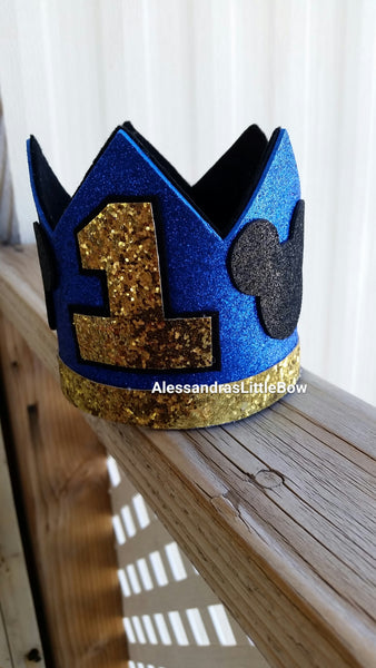 Royal blue Mickey Mouse birthday crown - AlessandrasLittleBow