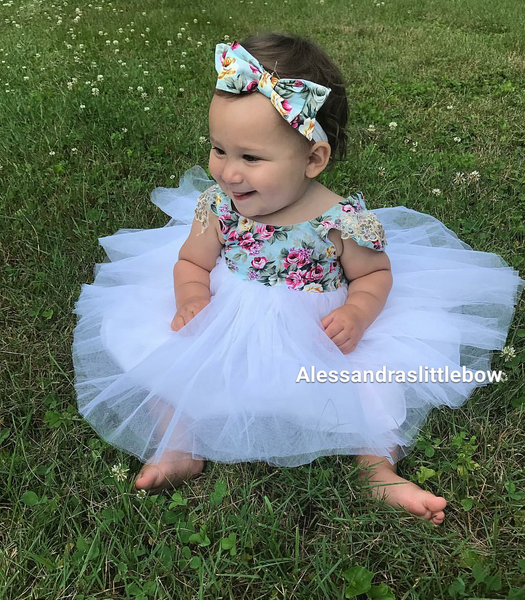 White Floral tutu dress - AlessandrasLittleBow