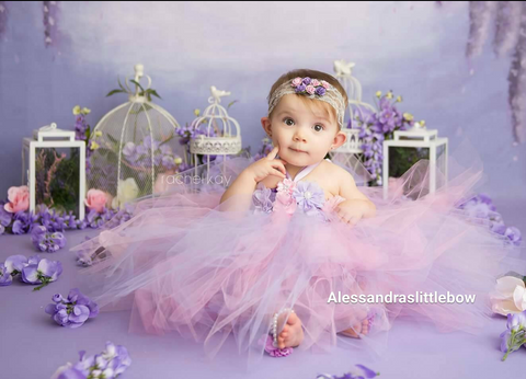 purple and pink tutu dress - AlessandrasLittleBow