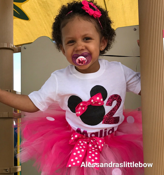 """Raquel"" minnie mouse birthday outfit 3 piece set"
