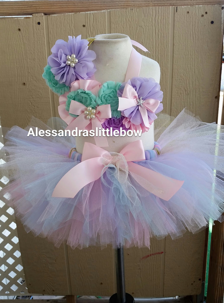 Sweet pastel Mermaid cake smash outfit - AlessandrasLittleBow