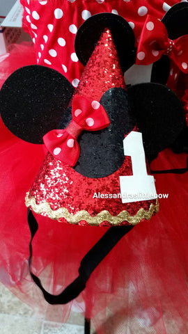 Red Minnie Mouse birthday hat - AlessandrasLittleBow